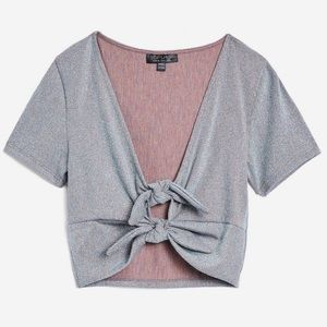 TOPSHOP Silver Metallic Knotted Crop Top NWT